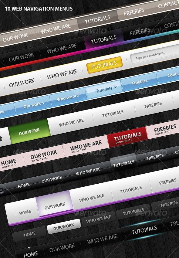 10 Clean Web Navigation Menus - Buttons Web Elements
