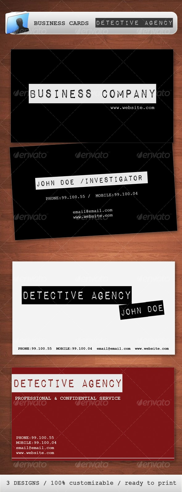 Detective Investigation Agency Business Card - Business Cards Print Templates