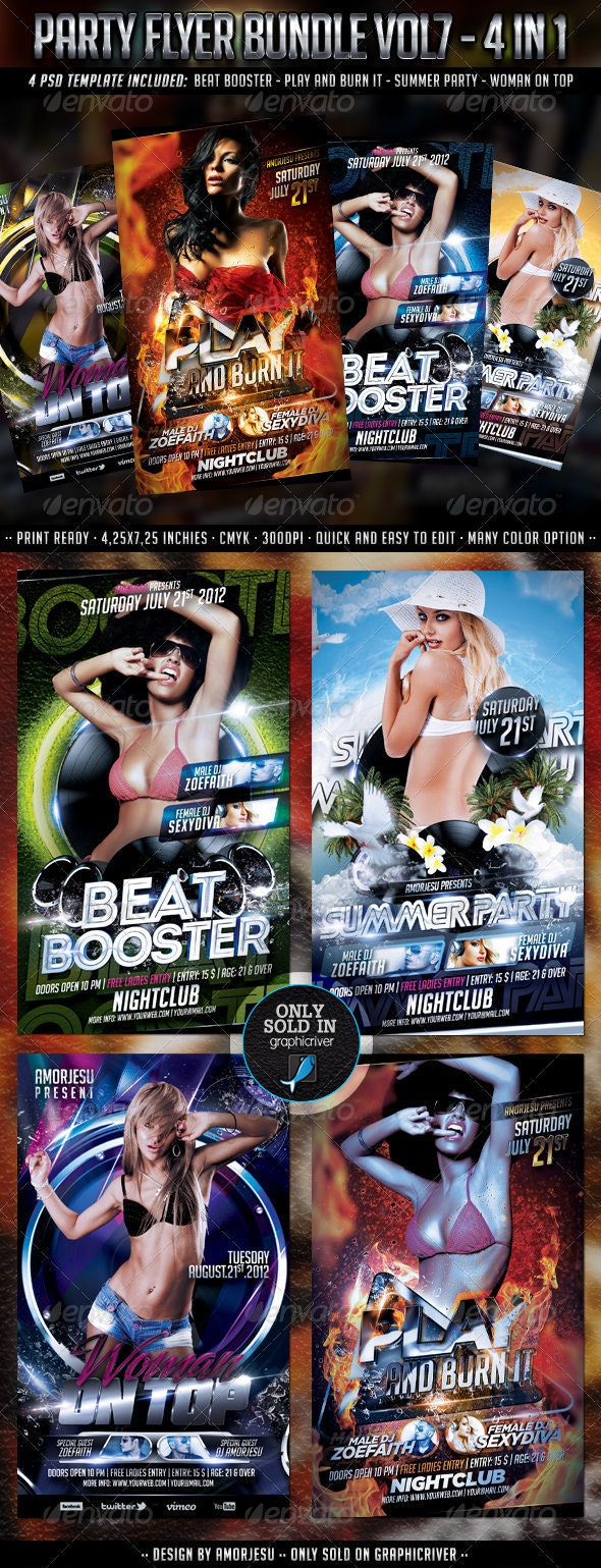 Party Flyer Bundle Vol7 - 4 in 1 - Clubs & Parties Events