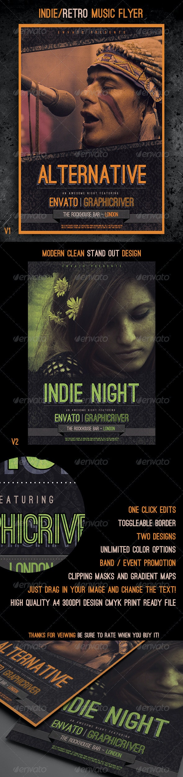 Indie / Retro Music Flyer template - Concerts Events