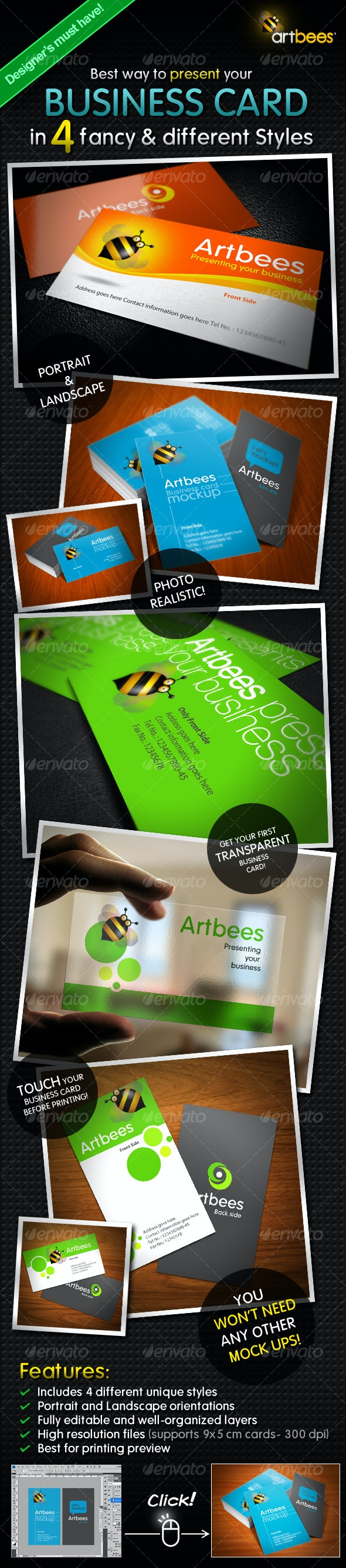 Business Card Mock-up Pack - 4 Styles - Business Cards Print