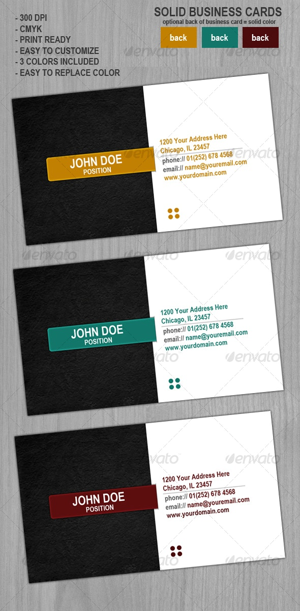 Solid Business Cards - Corporate Business Cards