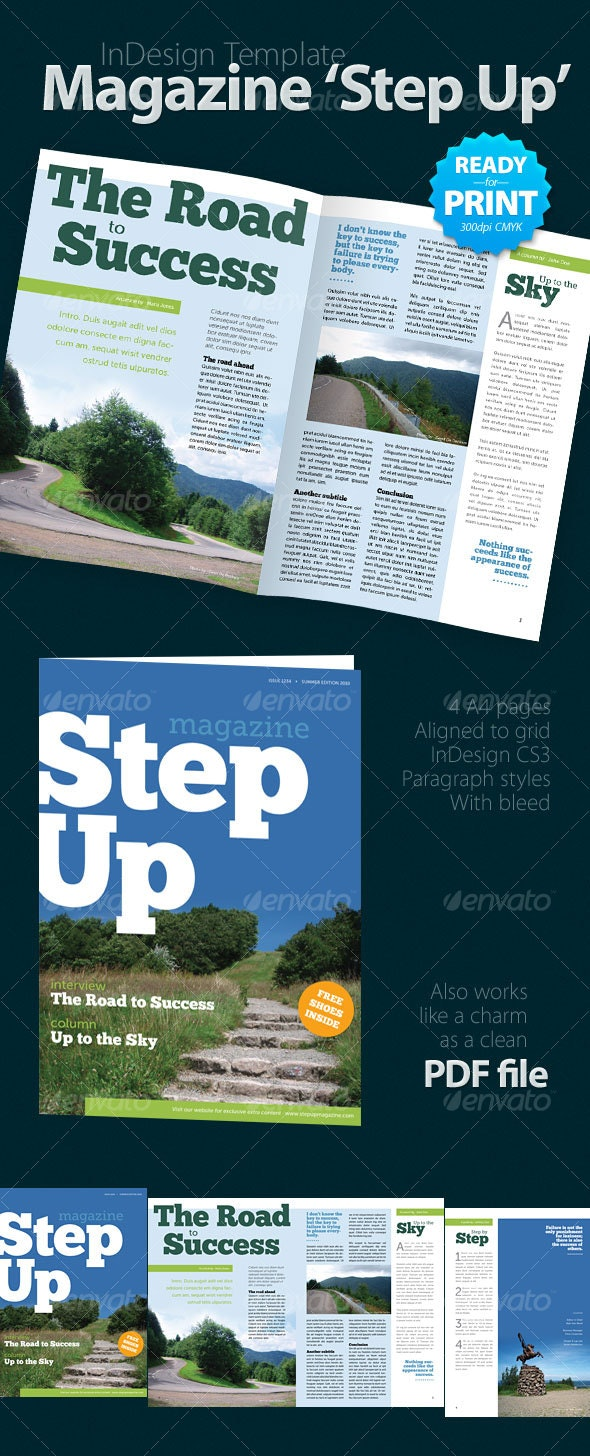 Magazine 'Step Up' (4 pages) - Magazines Print Templates