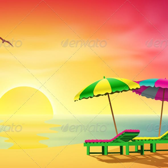 Sun Loungers on Beach