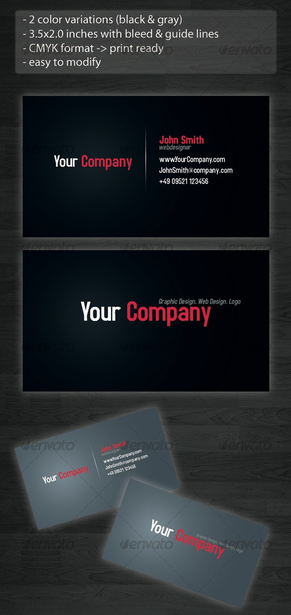 Simple Black & Gray Buisnesscard - Corporate Business Cards