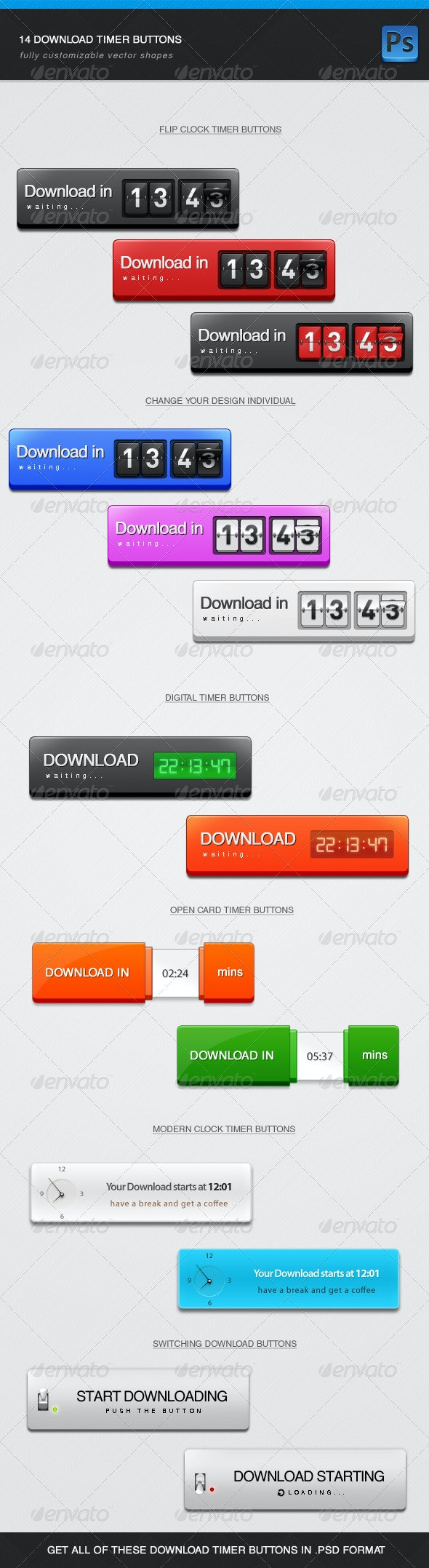Download Timer Buttons - Buttons Web Elements