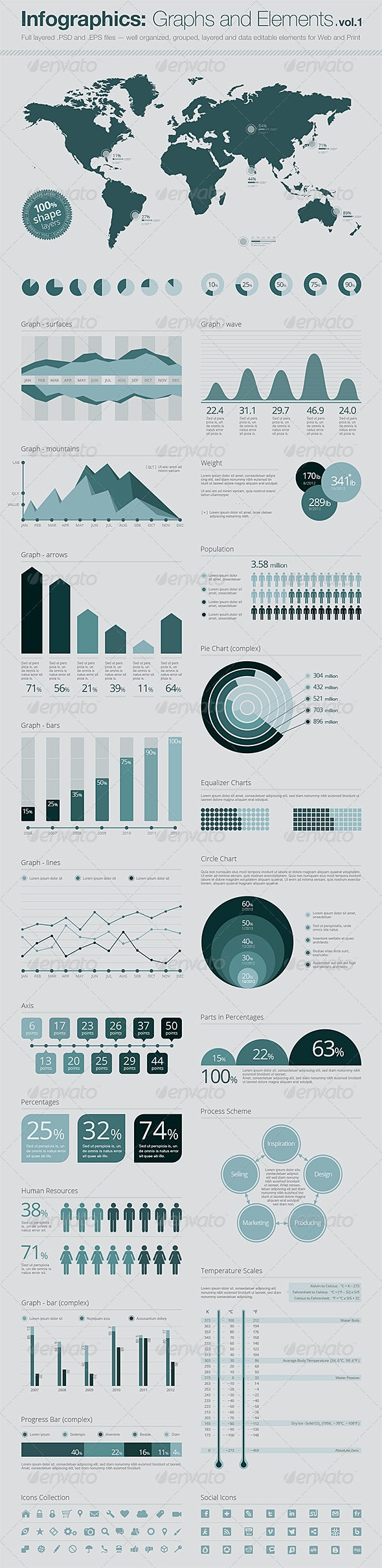 Infographics Elements: Vector Graphs and Elements  - Infographics