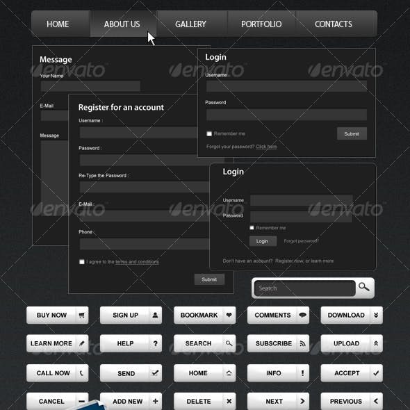 Black & White Web Elements