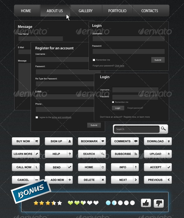 Black & White Web Elements - Web Elements