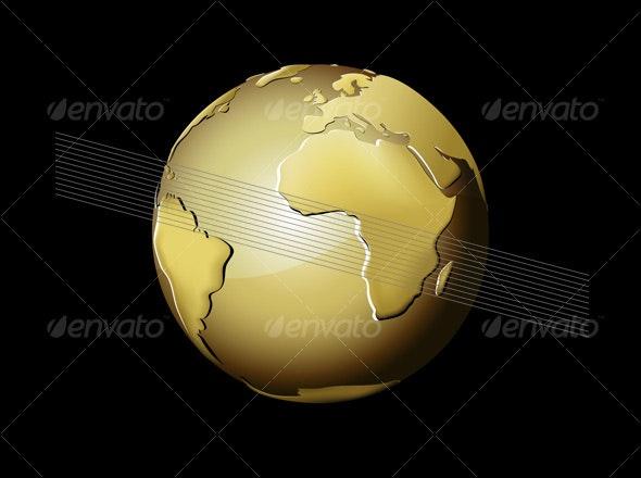 Golden Earth Globe - Objects Vectors