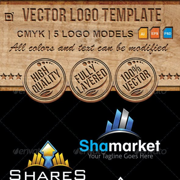 Share Market, Home, Civil Works Logo Template