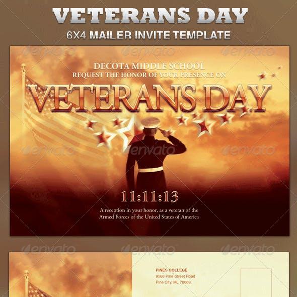 Veterans Day Mailer Invite Template
