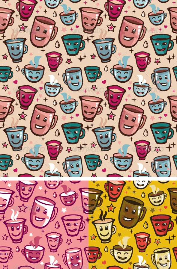 Vector seamless pattern with tea cups  - Patterns Decorative