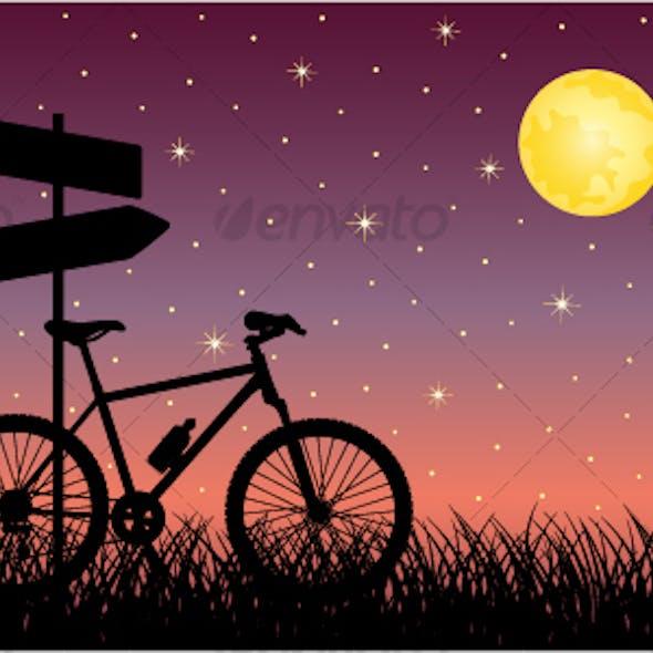 Night landscape with a bike