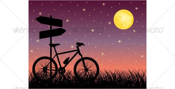 Night landscape with a bike - Backgrounds Decorative
