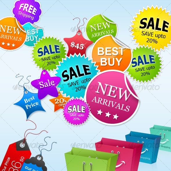 Badges, Price Tags & Shopping Bags for Online Shop