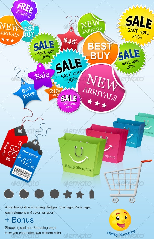 Badges, Price Tags & Shopping Bags for Online Shop - Web Elements