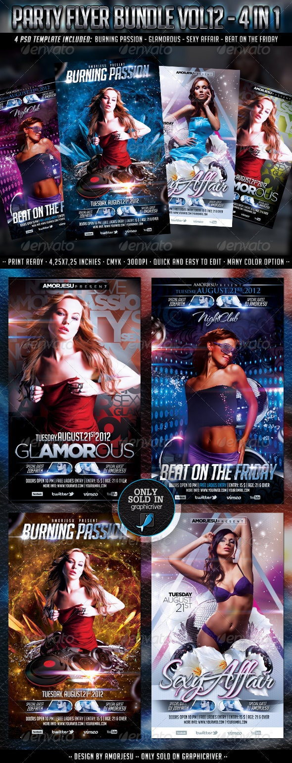 Party Flyer Bundle Vol12 - 4 in 1 - Events Flyers