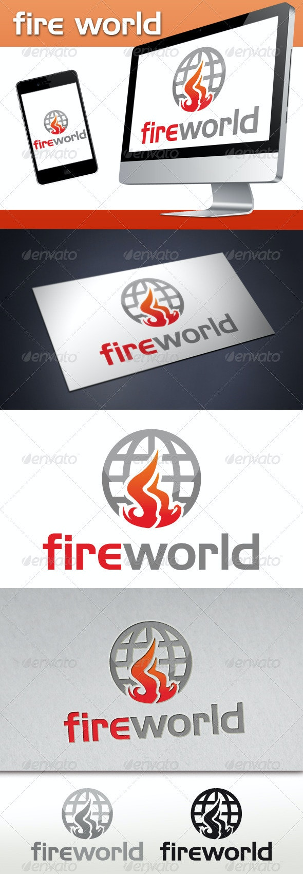 Fire World Media Logo - Symbols Logo Templates