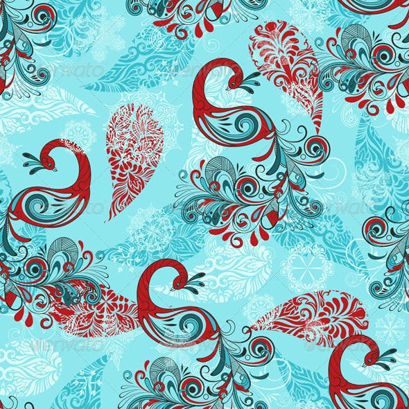 Vector Seamless Winter Pattern with Peacocks