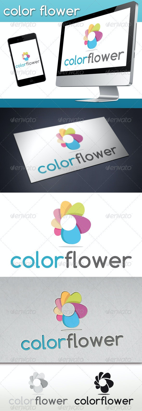 Colorful Flower logo - Vector Abstract