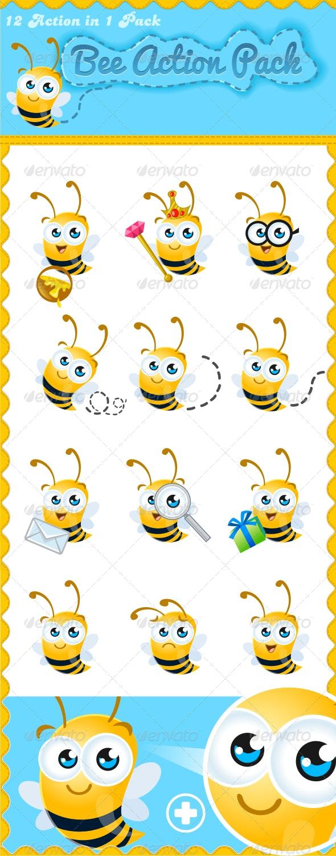 Friendly Bee Mascot  - Characters Vectors