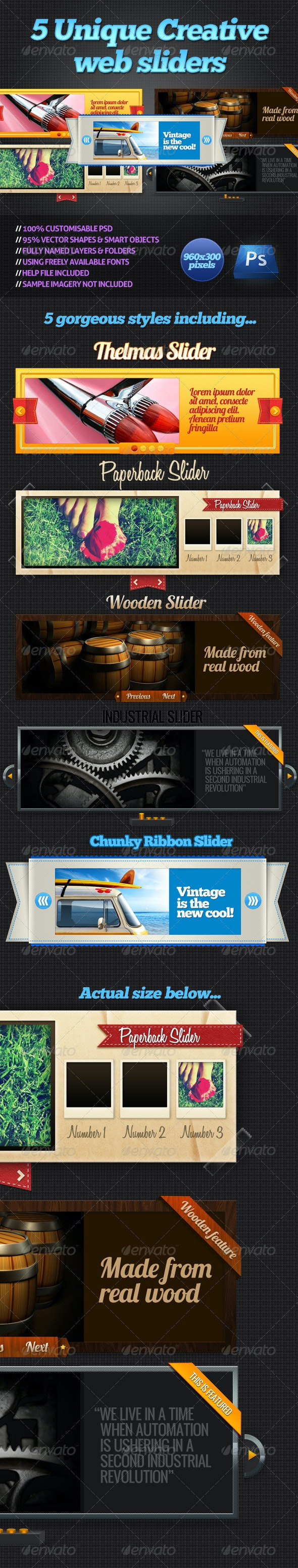 5 Creative Web Sliders - Sliders & Features Web Elements