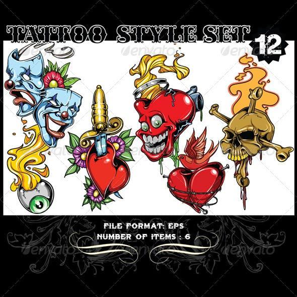 Tattoo Style Vector Set 12