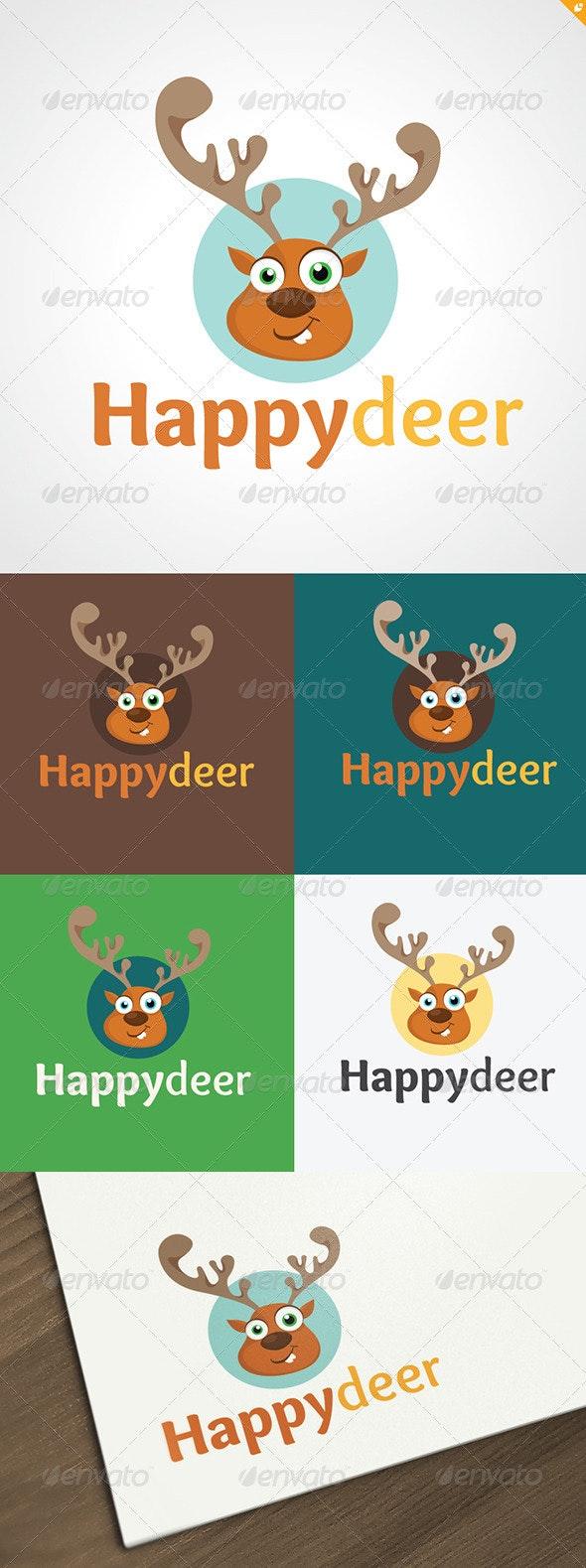 Happy Deer Logo - Animals Logo Templates