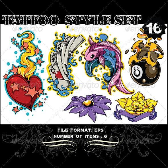 Tattoo Style Vector Set 16
