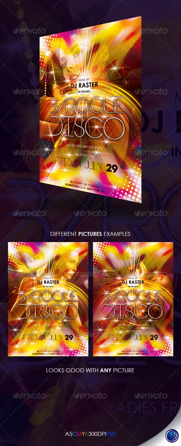 Disco Party Vibrant Flyer Template - Clubs & Parties Events