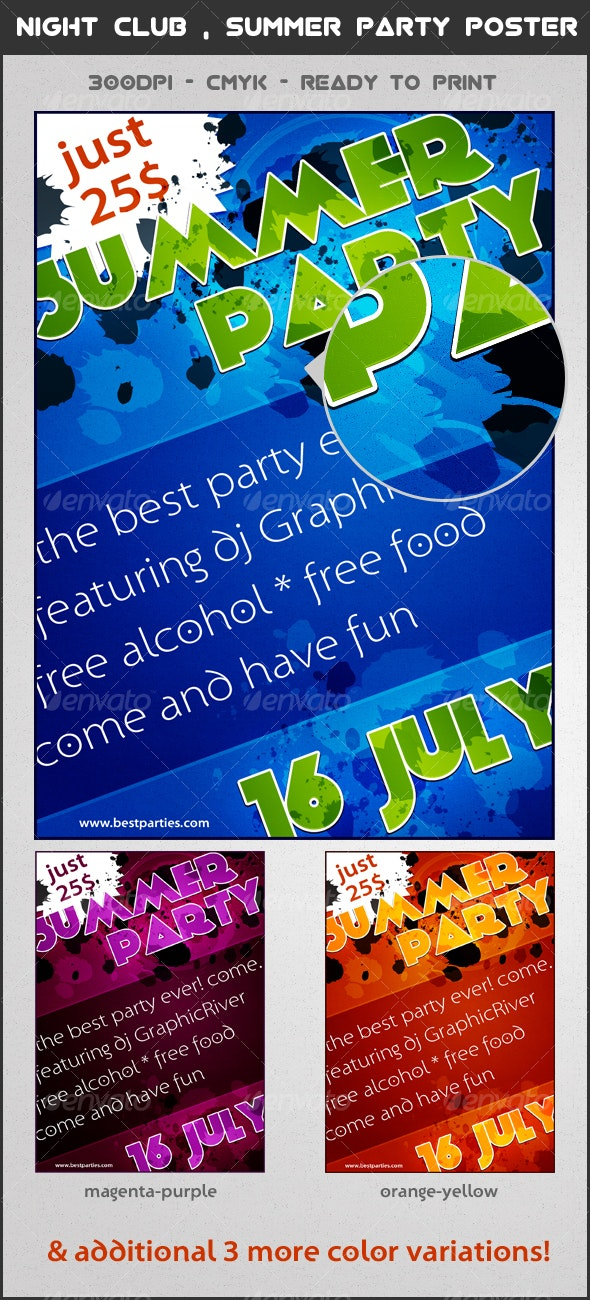 Night club / Summer party Poster - Clubs & Parties Events
