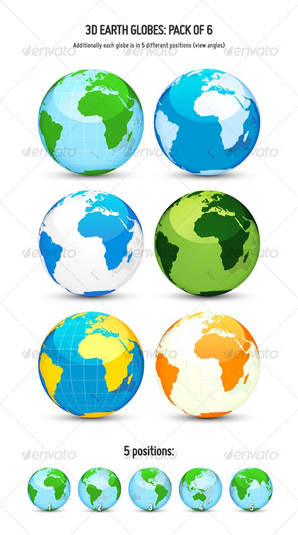 3D Earth Globes: Pack of 6 - Objects Vectors