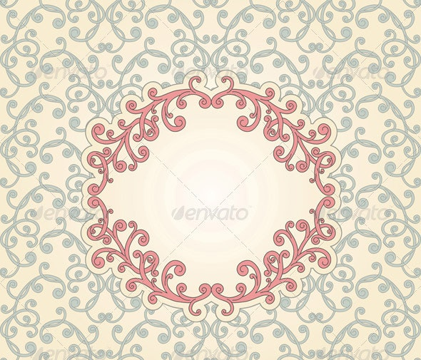 Vector Floral seamless Pattern with Floral Frame - Patterns Decorative