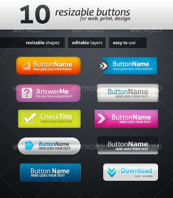 10 Web Buttons - Buttons Web Elements