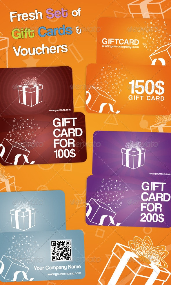 Fresh Set of Gift Cards and Vouchers - Loyalty Cards Cards & Invites