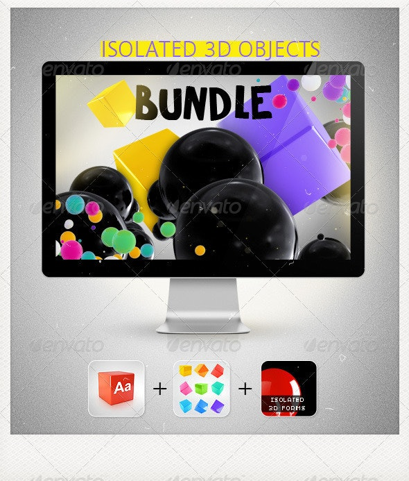 Isolated 3D Objects Bundle - Objects 3D Renders