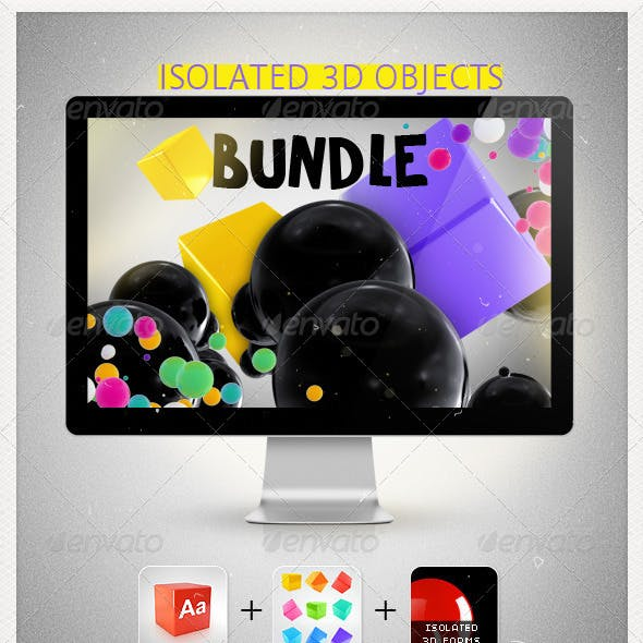 Isolated 3D Objects Bundle