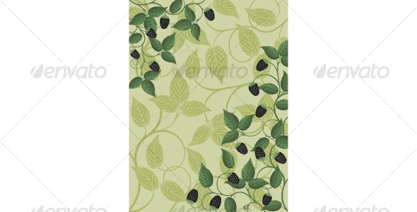 Floral background with a blackberry - Backgrounds Decorative