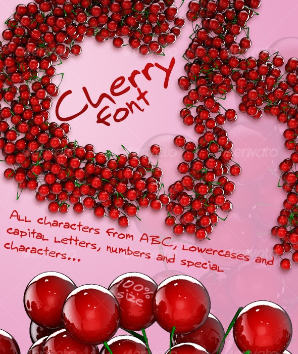 Cherry - 3D font - Objects 3D Renders
