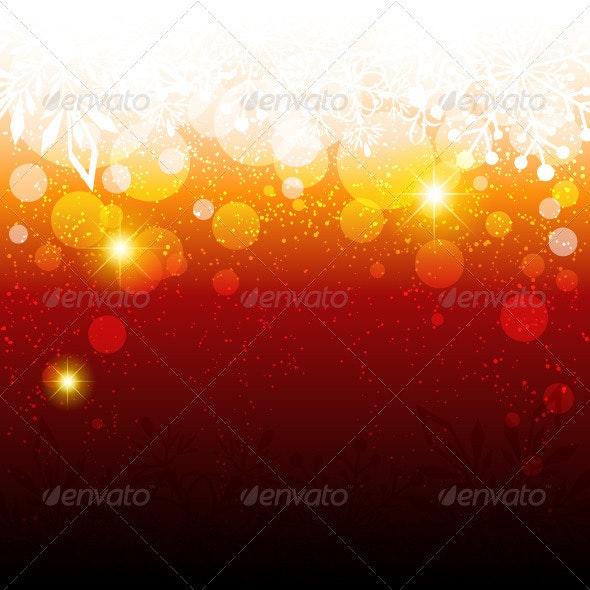 Sparkling Red Christmas Snowflake Background - Christmas Seasons/Holidays