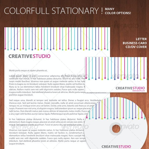 Colorful Stationary - Business Card + Letter + CD