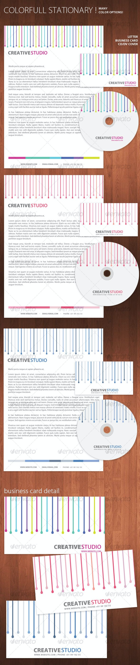 Colorful Stationary - Business Card + Letter + CD - Miscellaneous Print Templates