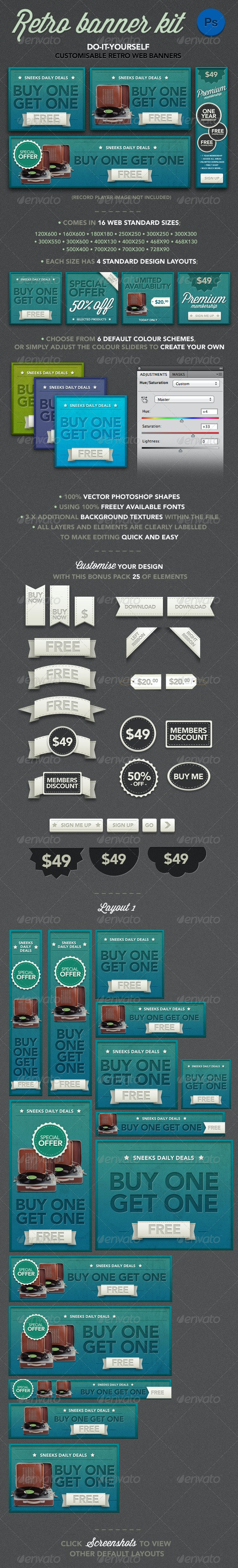 Retro Banner Kit - Banners & Ads Web Elements
