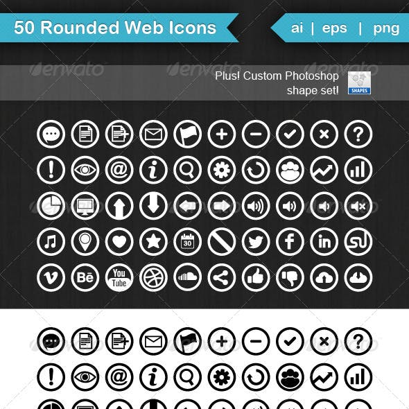 50 Rounded Web Icons
