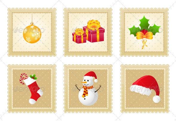 Set of Christmas Postage Stamps - Christmas Seasons/Holidays