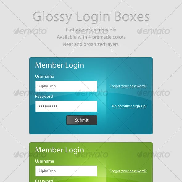 Glossy Login Boxes