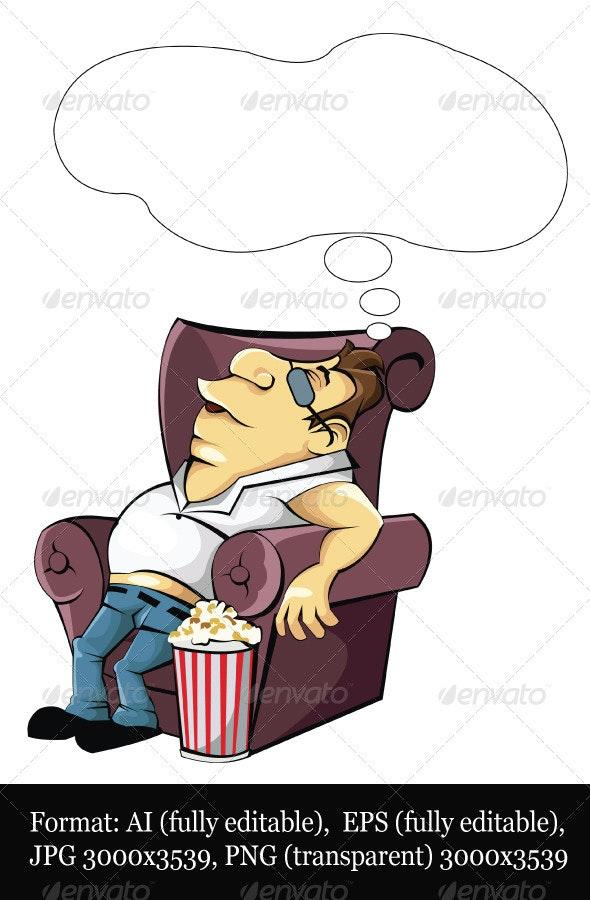 Fat Man Watches TV - Characters Vectors