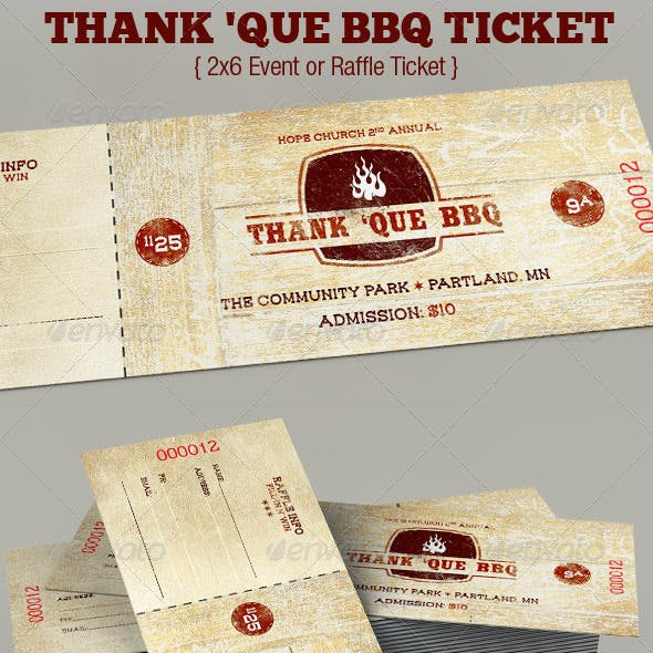 Western BBQ Charity Ticket Template