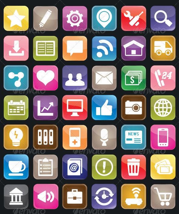 Set of social media buttons for design - Media Technology